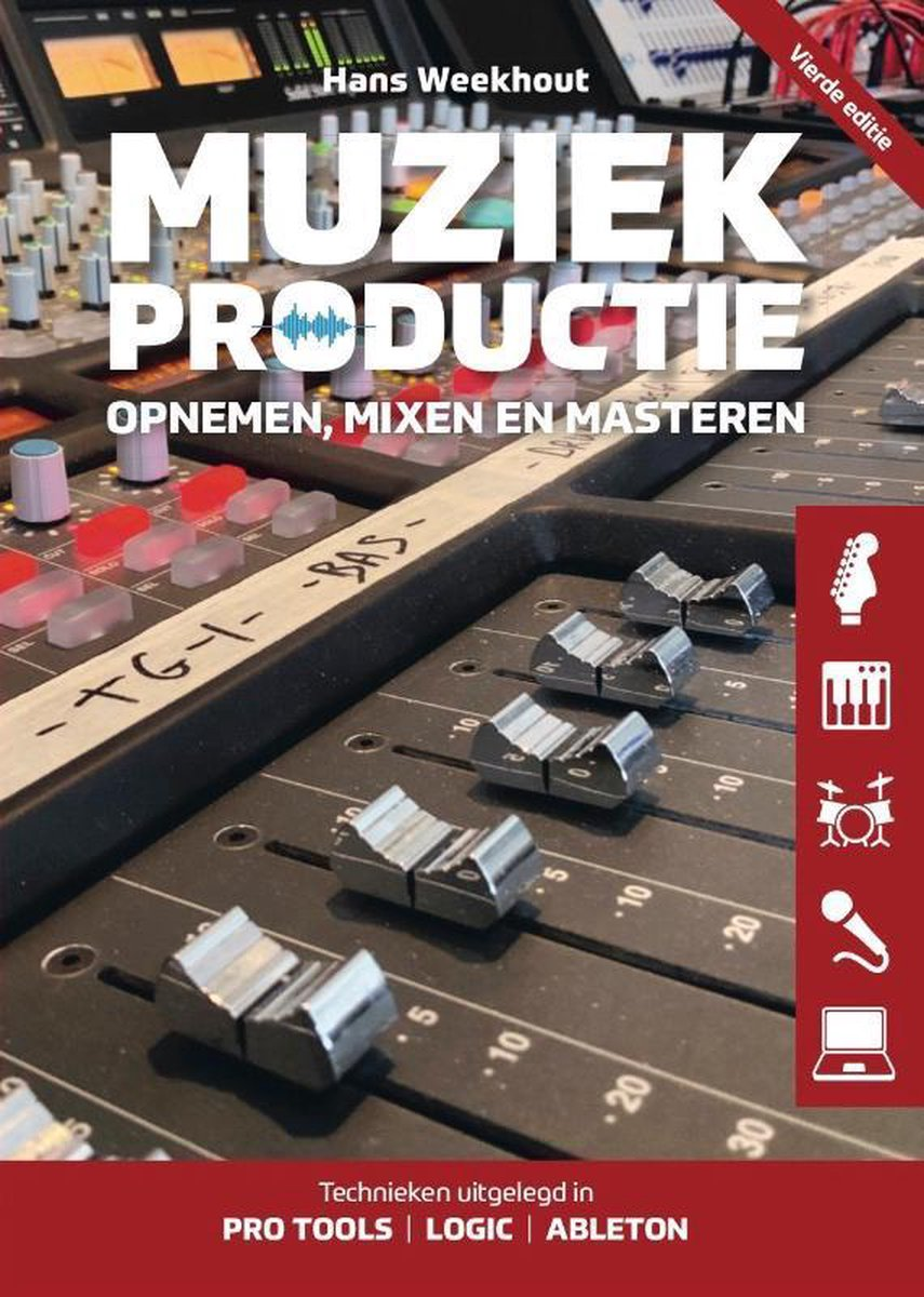 Muziekproductie - opnemen, mixen, masteren - 400p - t.w.v. 32,90 - door Hans Weekhout