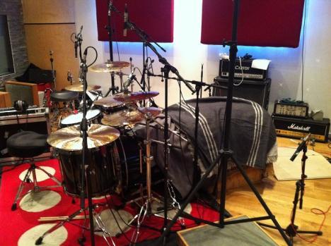 De drumkit klaar voor actie