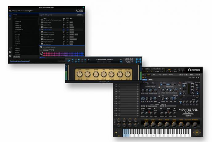 Download de freeware van Sample Manager, Free Amp, Poly DEmo