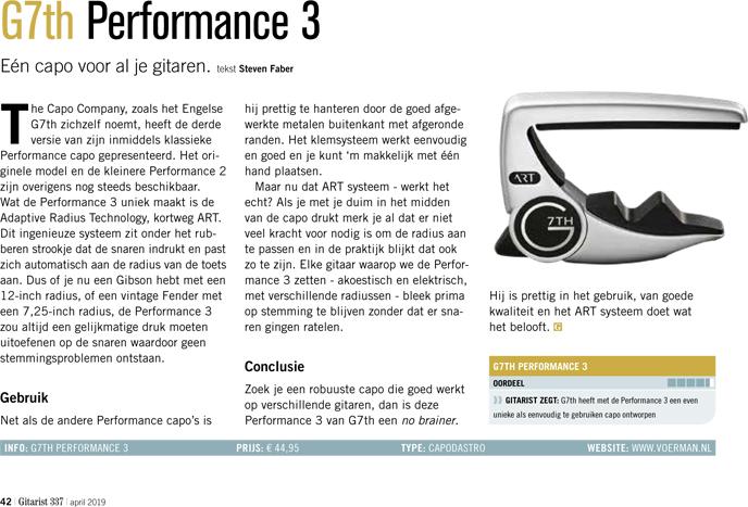 G7th Performance 3 - test uit Gitarist 337
