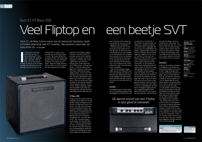 Tech 21 VT Bass 200 - test uit Gitarist 338