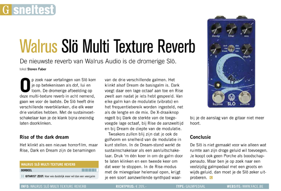 Walrus Slo Multi Texture Reverb - test uit Gitarist 339
