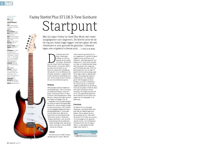 Fazley Startist Plus ST118 3-Tone Sunburst - test uit Gitarist 339