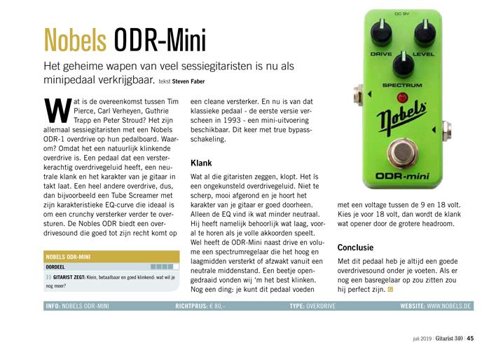 Nobels ODR-Mini - test uit Gitarist 340