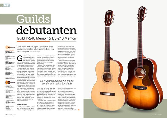 Guild P-240 Memoir & DS-240 Memoir - test uit Gitarist 340