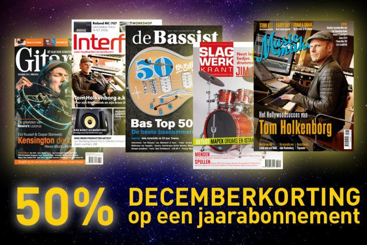 Kerstcadeau! 50% DECEMBERKORTING op jaarabonnementen Slagwerkkrant, Gitarist, Musicmaker, Interface, en De Bassist