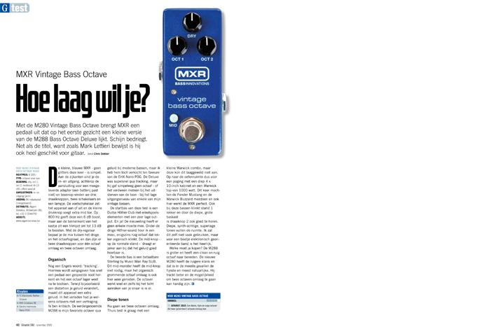 MXR Vintage Bass Octave - test uit Gitarist 344