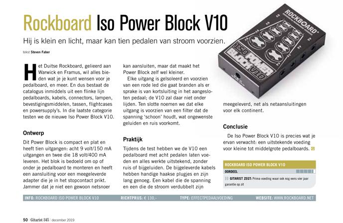 Rockboard Iso Power Block V10 - test uit Gitarist 345