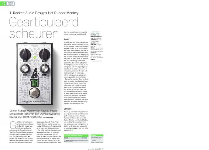 J. Rockett Audio Designs Hot Rubber Monkey - test uit Gitarist 346