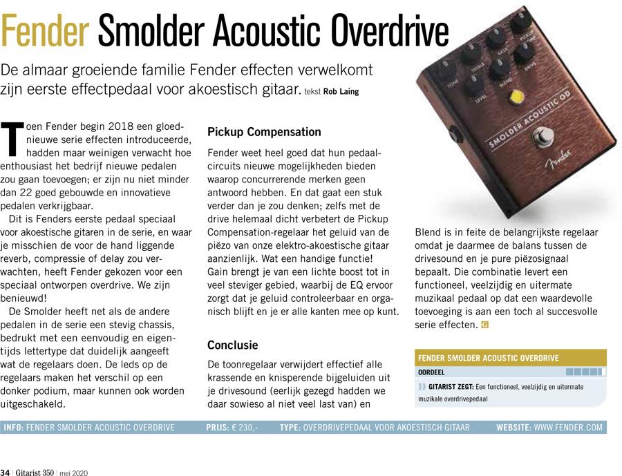 Fender Smolder Acoustic Overdrive - test uit Gitarist 350