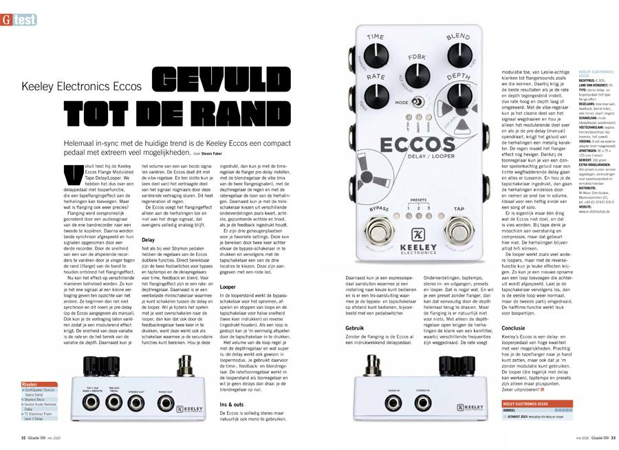 Keeley Electronics Eccos - test uit Gitarist 350