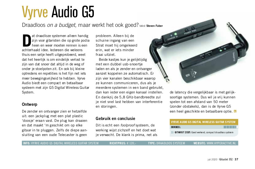 Vyrve Audio G5 - test uit Gitarist 352