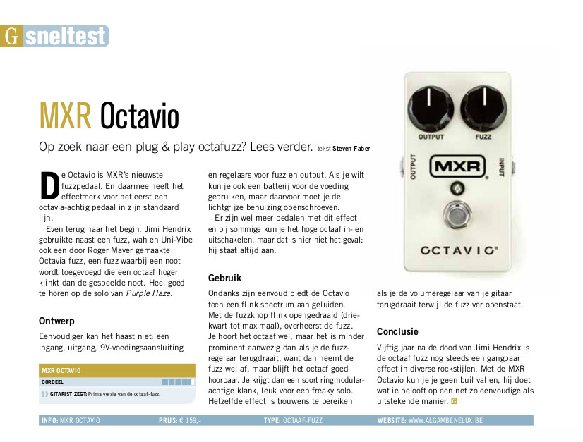 MXR Octavio - test uit Gitarist 353