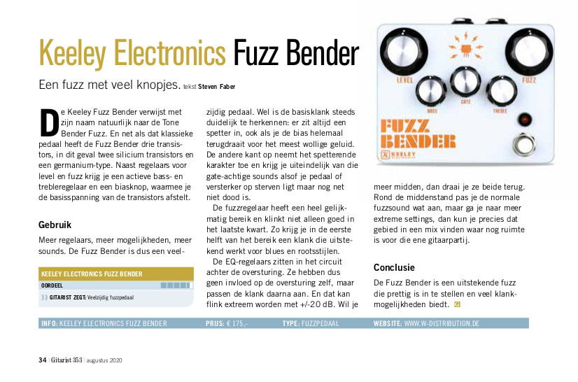 Keeley Electronics Fuzz Bender - test uit Gitarist 353