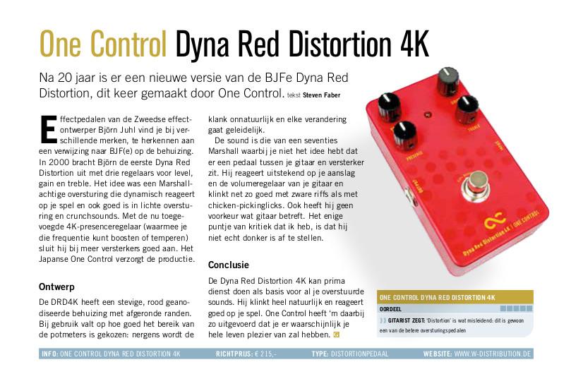 One Control Dyna Red Distortion 4K - test uit Gitarist 355