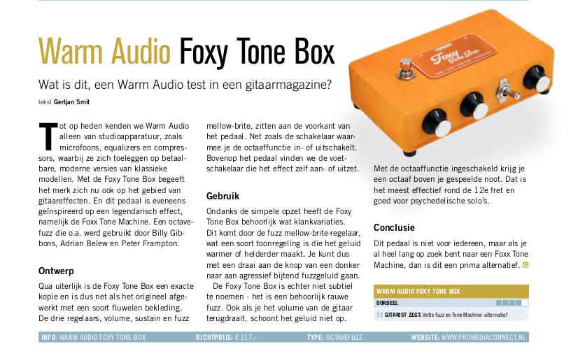 Warm Audio Foxy Tone Box - test uit Gitarist 355