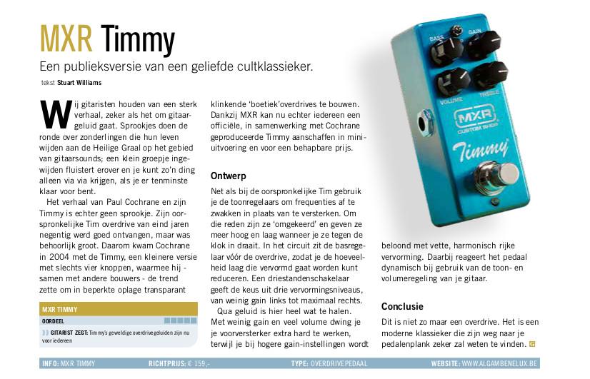 MXR Timmy - test uit Gitarist 356