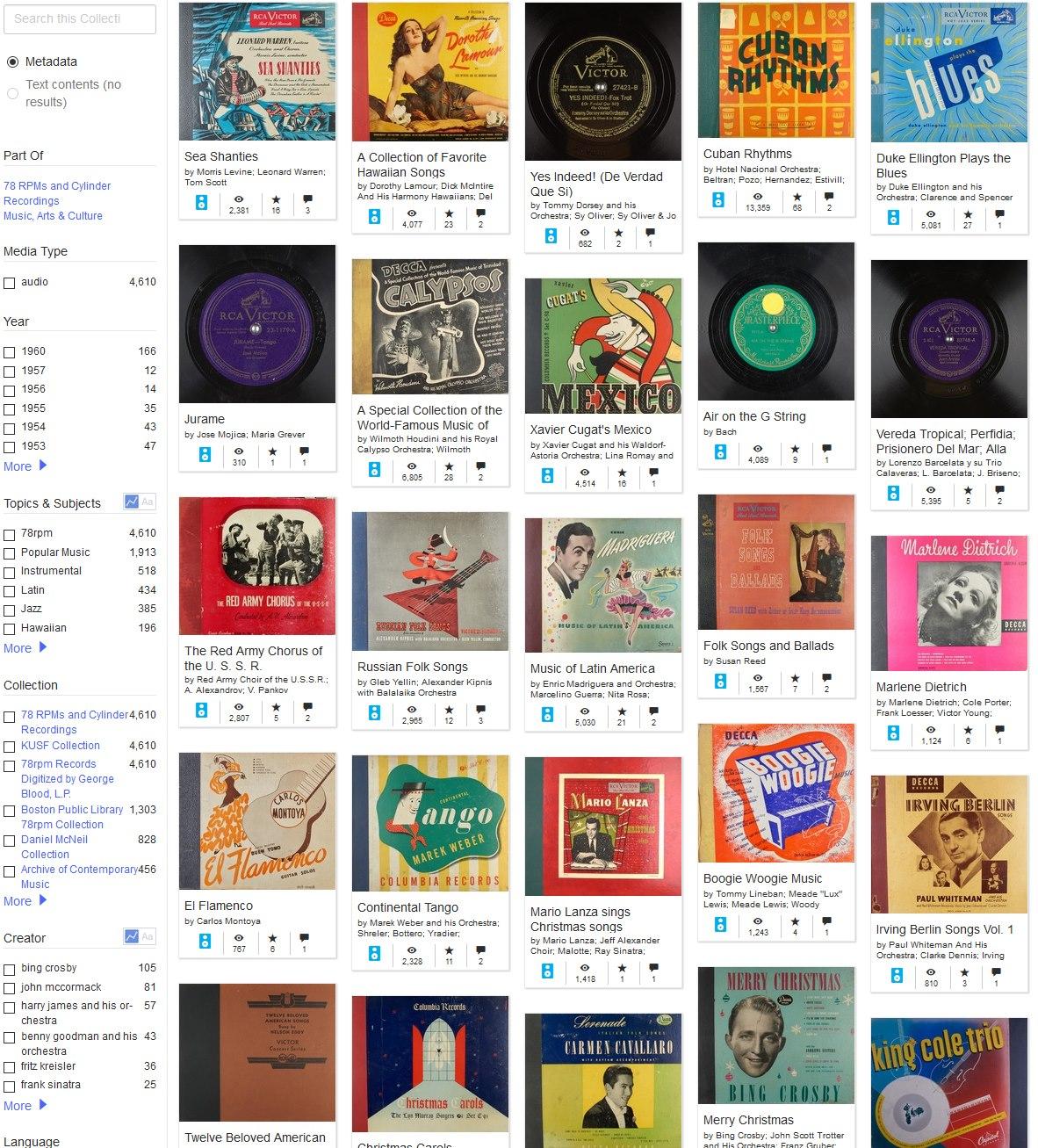 Internet Archive 78 toeren schellakopnames