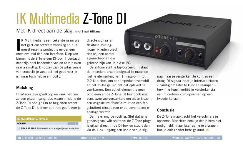 IK Multimedia Z-Tone DI - test uit Gitarist 357