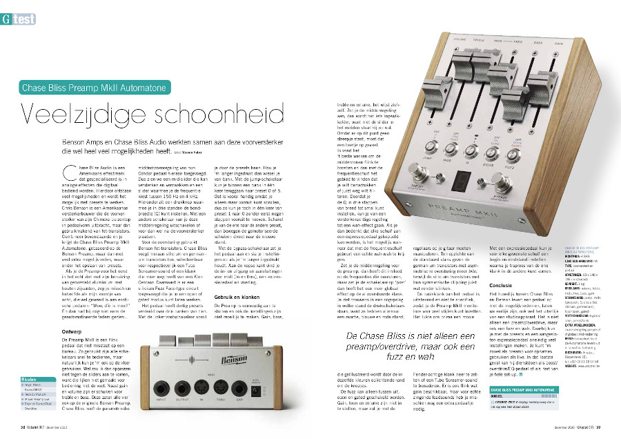 Chase Bliss Preamp MkII Automatone - test uit Gitarist 357