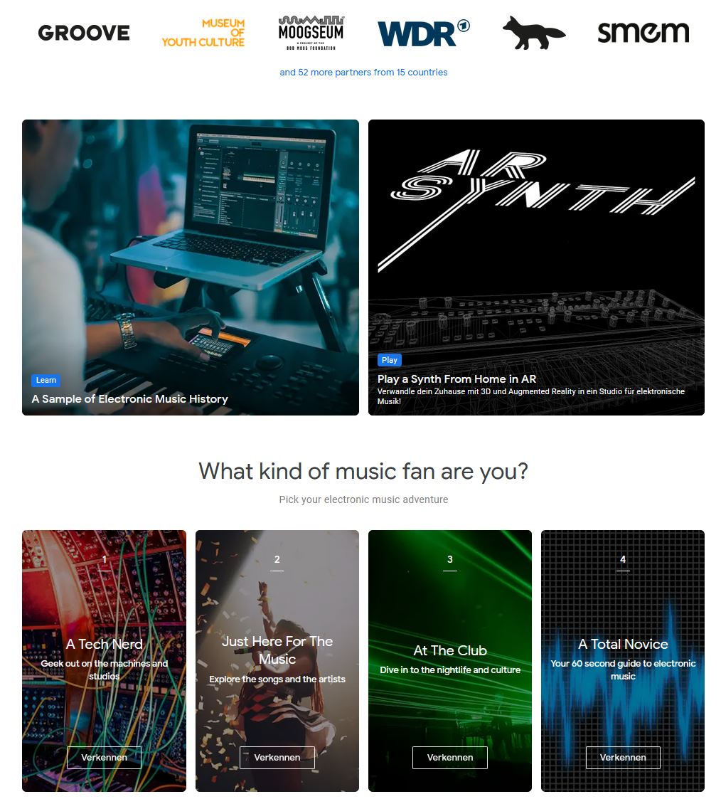 Google Arts & Culture Music, makers & Machines