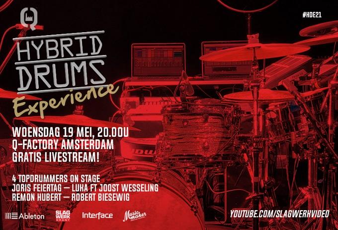 Videostream Hybrid Drums Experience terugkijken - wo 19 mei, 20-22u - Gratis Livestream