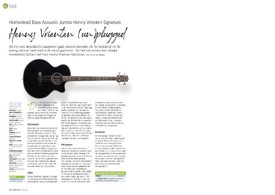 Homestead Bass Acoustic Jumbo Henny Vrienten Signature - test uit Gitarist 358