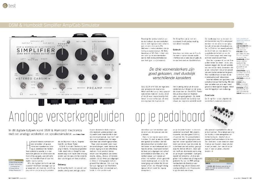DSM & Humboldt Simplifier Amp/Cab Simulator - test uit Gitarist 358