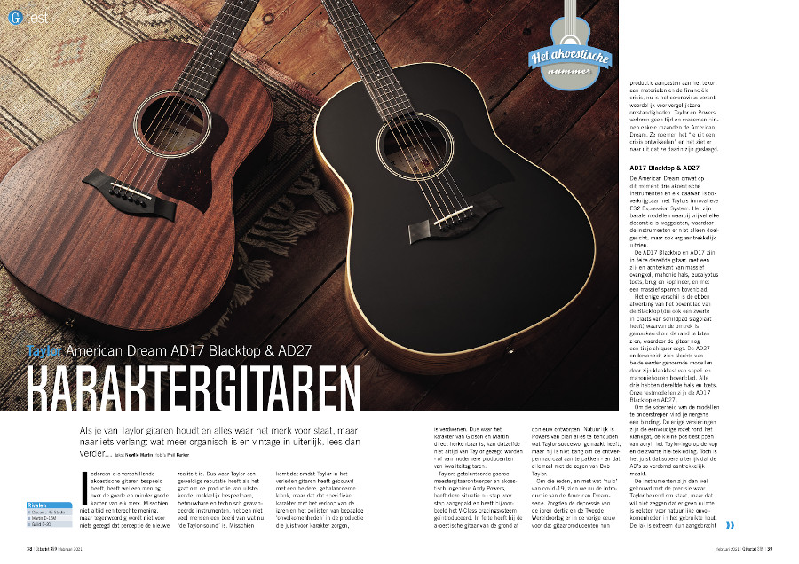 Taylor American Dream AD17 Blacktop & AD27 - test uit Gitarist 359