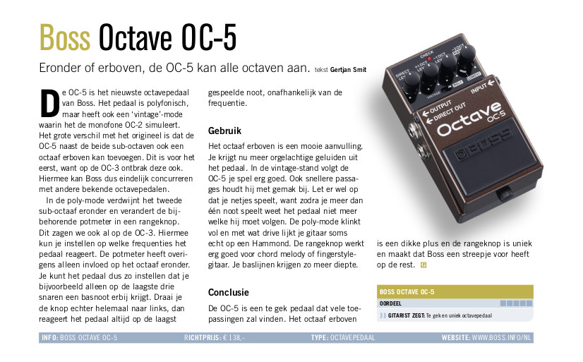 Boss Octave OC-5 - test uit Gitarist 359