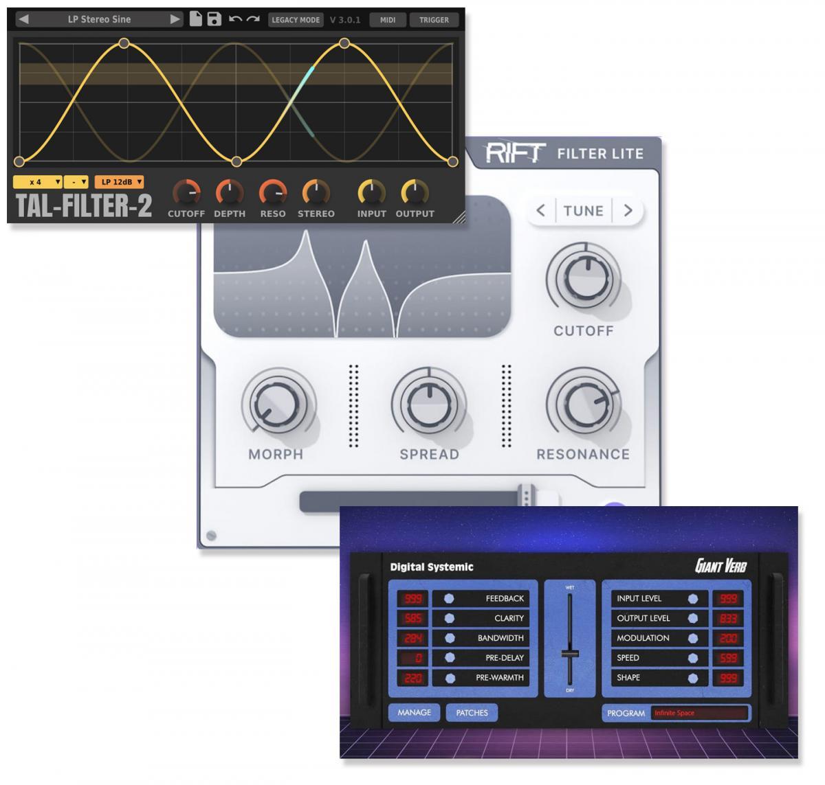 Download nieuwe freeware! Rift Filter, TAL Filter, Giant Verb