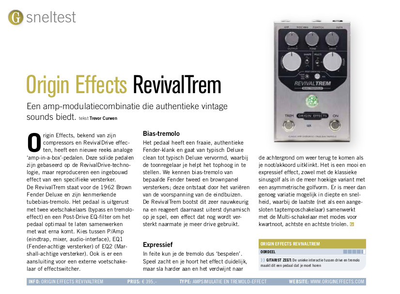 Origin Effects RevivalTrem - test uit Gitarist 361