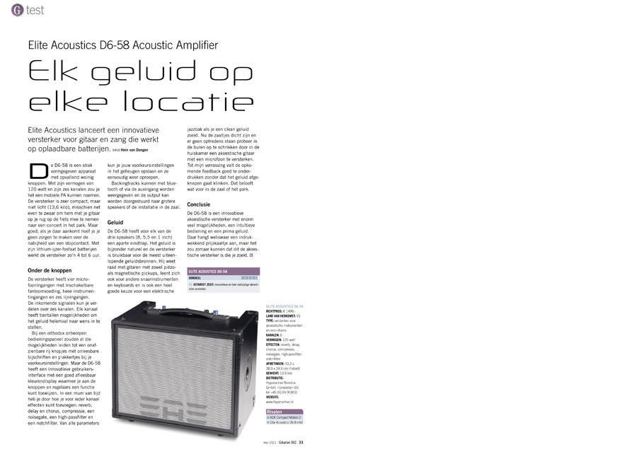Elite Acoustics D6-58 Acoustic Amplifier - test uit Gitarist 362