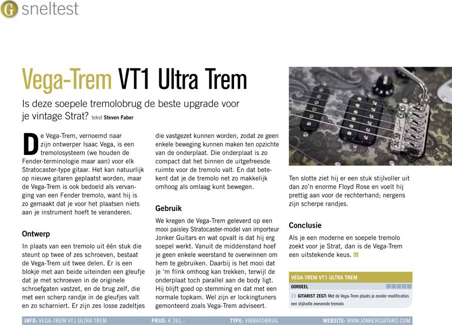 Vega-Trem VT1 Ultra Trem - test uit Gitarist 362