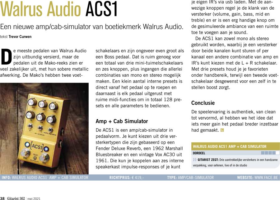 Walrus Audio ACS1 - test uit Gitarist 362