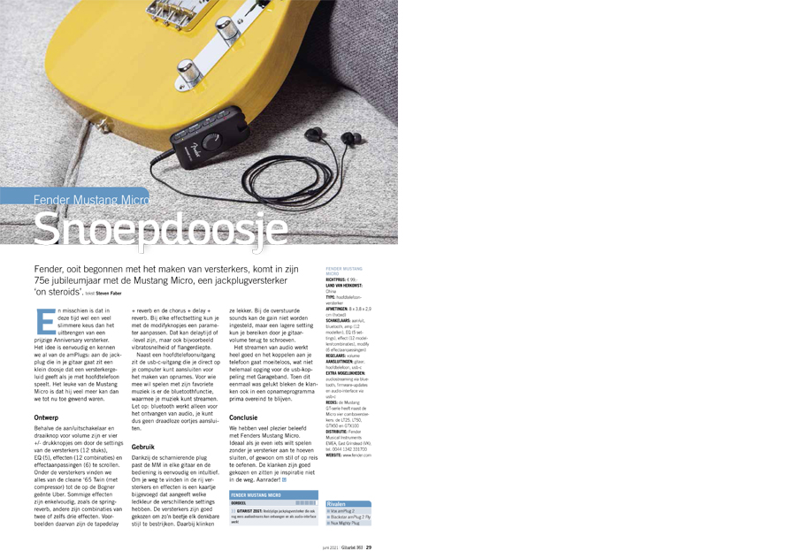 Fender Mustang Micro - test uit Gitarist 363
