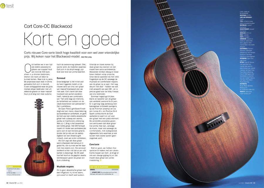 Cort Core-OC Blackwood - test uit Gitarist 363