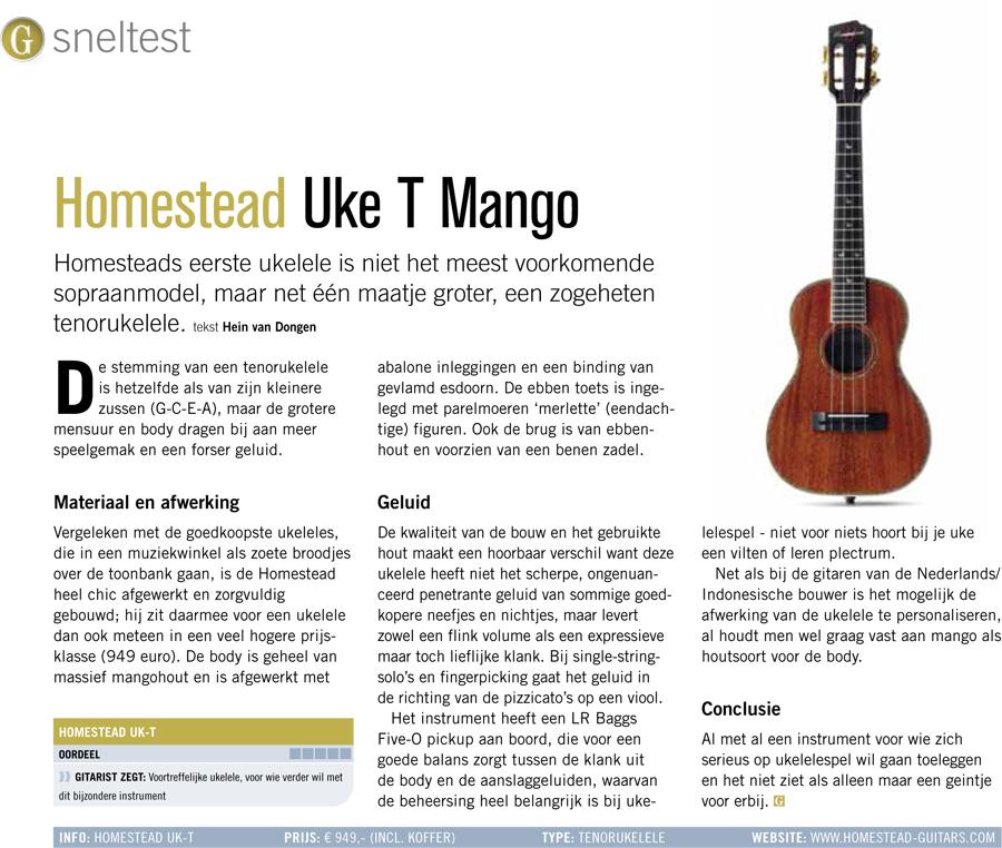 Homestead Uke T Mango - test uit Gitarist 363
