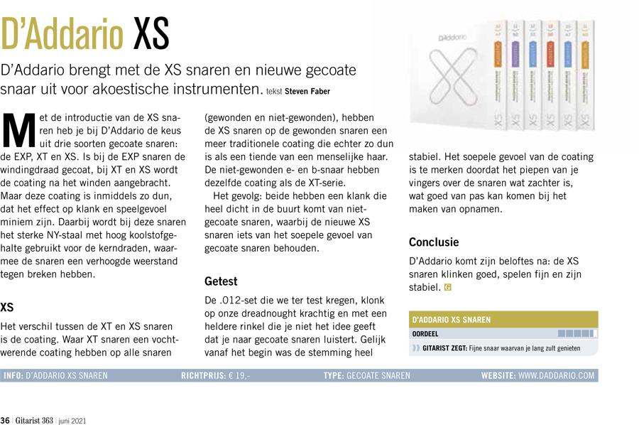 DAddario XS - test uit Gitarist 363