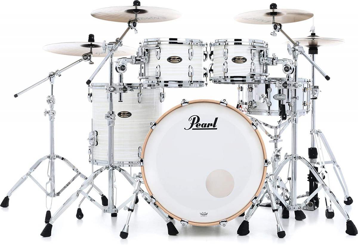 Pearl 75 jaar - Masters Maple Gum drumsets nu in Silver White Swirl